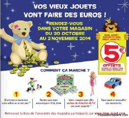 Bon d'achat de 5€ dès 35€ d'achat offert en l'échange d'un ancien jouet