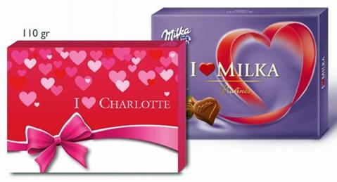 Coffrets chocolats Milka personnalisés 110g ou 220g au choix,