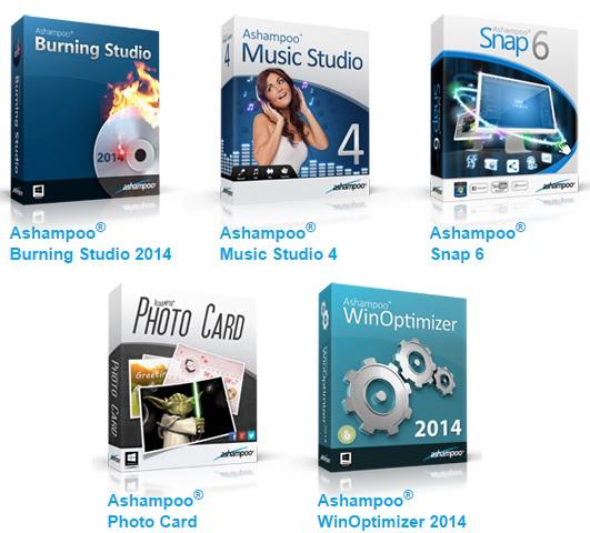 6 Logiciels Ashampoo gratuits sur PC (au lieu de 120€) : Burning Studio 2014, Music Studio 4, Snap 6, Photo Card, WinOptimizer 2014 et ClipFinder HD 2