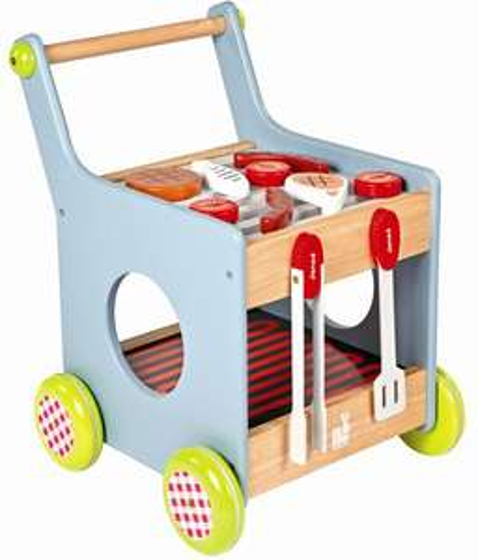 Jouet Chariot Barbecue 2 en 1 Janod en bois + accessoires