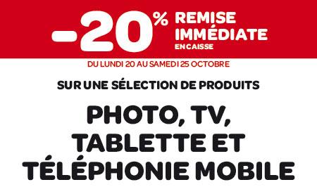 20% de remise immédiate sur une sélection Photo, Tv, Tablette et Téléphonie mobile