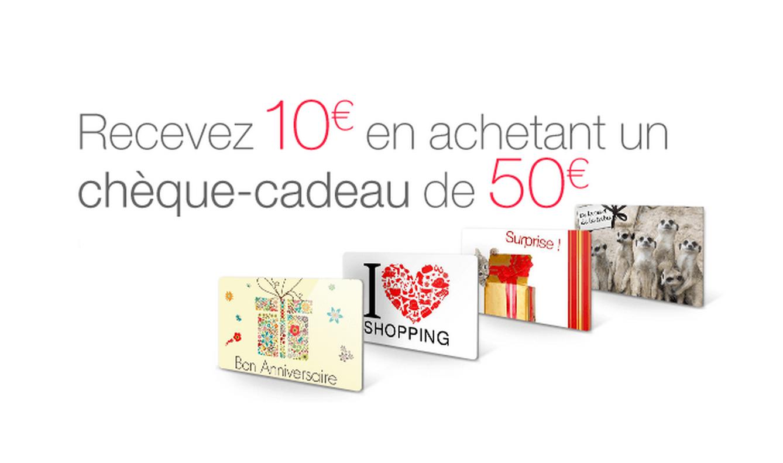 Bon d'achat de 10€ offert pour toute commande d'un chèque-cadeau de 50€