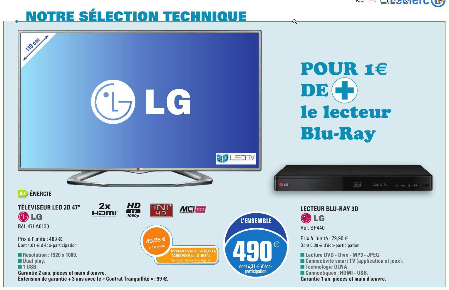 "EnsembleTéléviseur LG 47LA6130 (47"") + lecteur Blu Ray LG BP440"