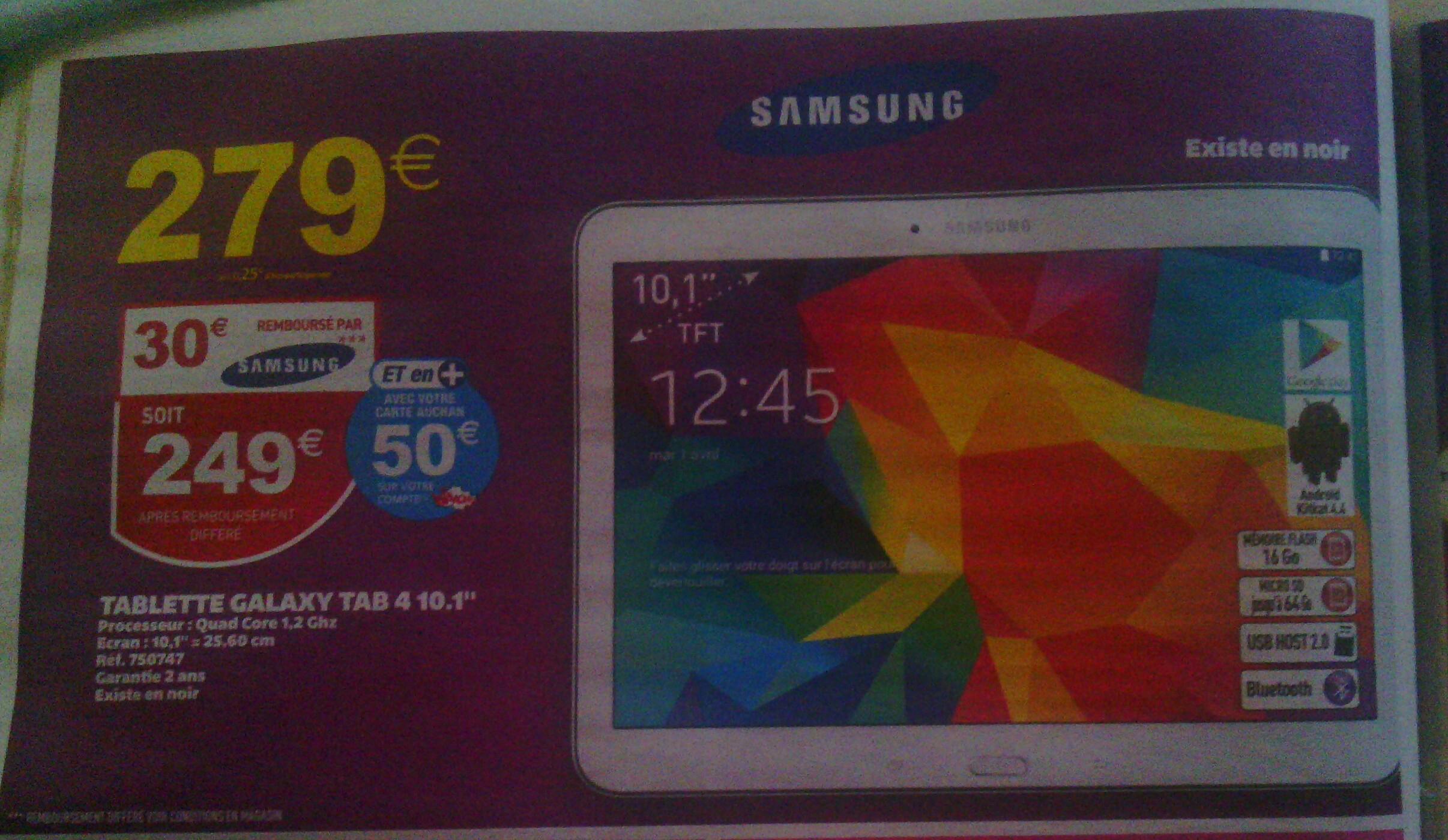 """Tablette 10.1"""" Samsung Galaxy Tab 4 (50€ sur carte fidélité avec ODR 30€)"""