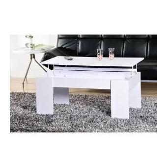 Table Basse open plateau relevable blanc