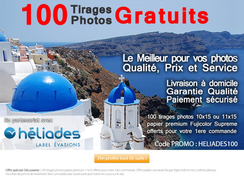 100 tirages premium gratuits 11x15 ou 10x15 (Livraison : 5.9€)