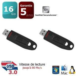 Lot de 2 clés USB 3.0 SanDisk Ultra 16 Go