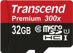 Carte mémoire micro SDHC 32 Go Transcend classe 10 UHS-I 300x