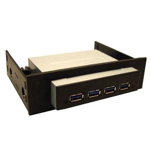 Hub USB 3.0 (4 ports) en façade dans baie 3.5'' ou 5.25''