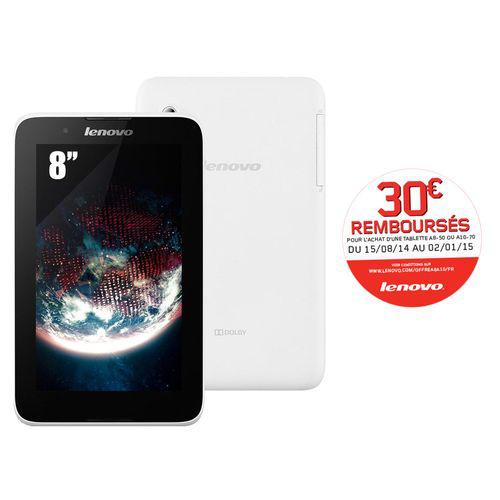 """Tablette 8"""" Blanche 16 Go Quad Core Lenovo A8-50 (Avec ODR de 30€)"""