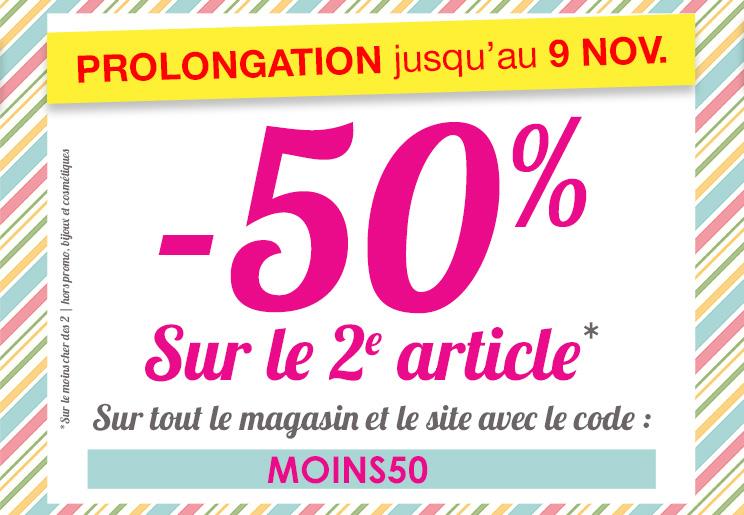 50% de réduction sur le deuxième article sur tout le site
