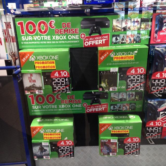 100€ de remise sur la Xbox One + 1 jeu au choix offert (parmi les dernière nouveautés) pour la reprise d'une PS3 ou Xbox 360, soit le pack