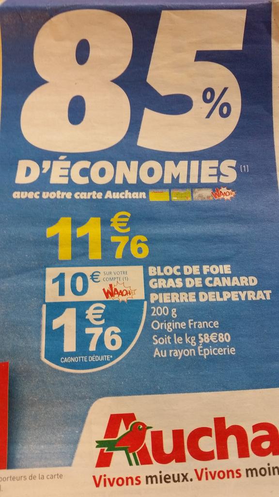 Bloc de fois gras de canard Pierre Delpeyrat 200 grammes (avec 10€ sur la carte Waooh)
