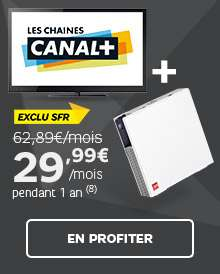 Abonnement 1 an SFR Internet/TV et les 6 chaines Canal+
