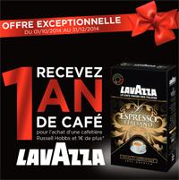 Pour l'achat d'une cafetiere Russell Hobbs 1 an de café expresso Lavazza