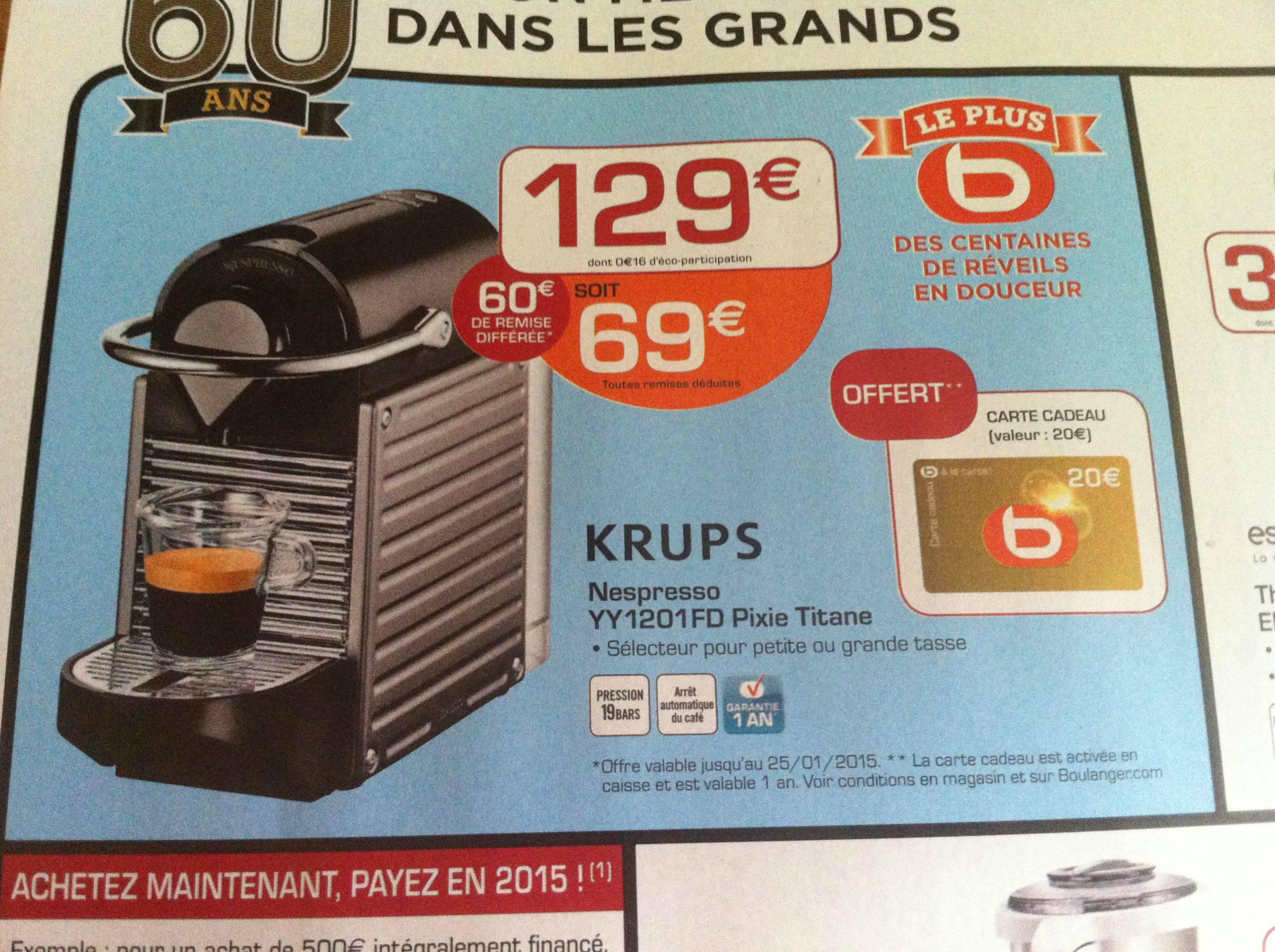 Machine Expresso à capsules Krups Pixie Titane YY1201FD (20€ en carte cadeau)