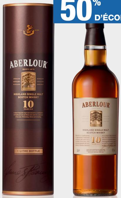 Whisky Aberlour 10 ans d'âge (50% sur carte fidélité)