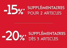 15% de réduction supplémentaires pour 2 articles achetés / 20% pour 3 articles