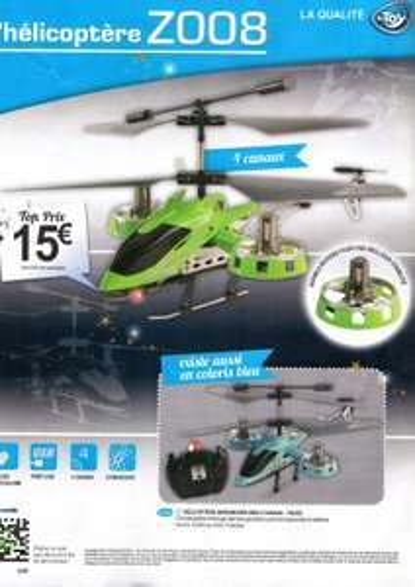 Hélicoptère RC d'intérieur Z0008 BeToys - Bleu ou vert
