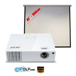 "Vidéoprojecteur Acer H6510BD Full HD 3D + Ecran de projection 87"""