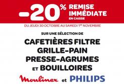 20% de remise immédiate en caisse sur une sélection de cafetières filtre grille-pain, presse-agrumes et bouilloires Moulinex et Philips