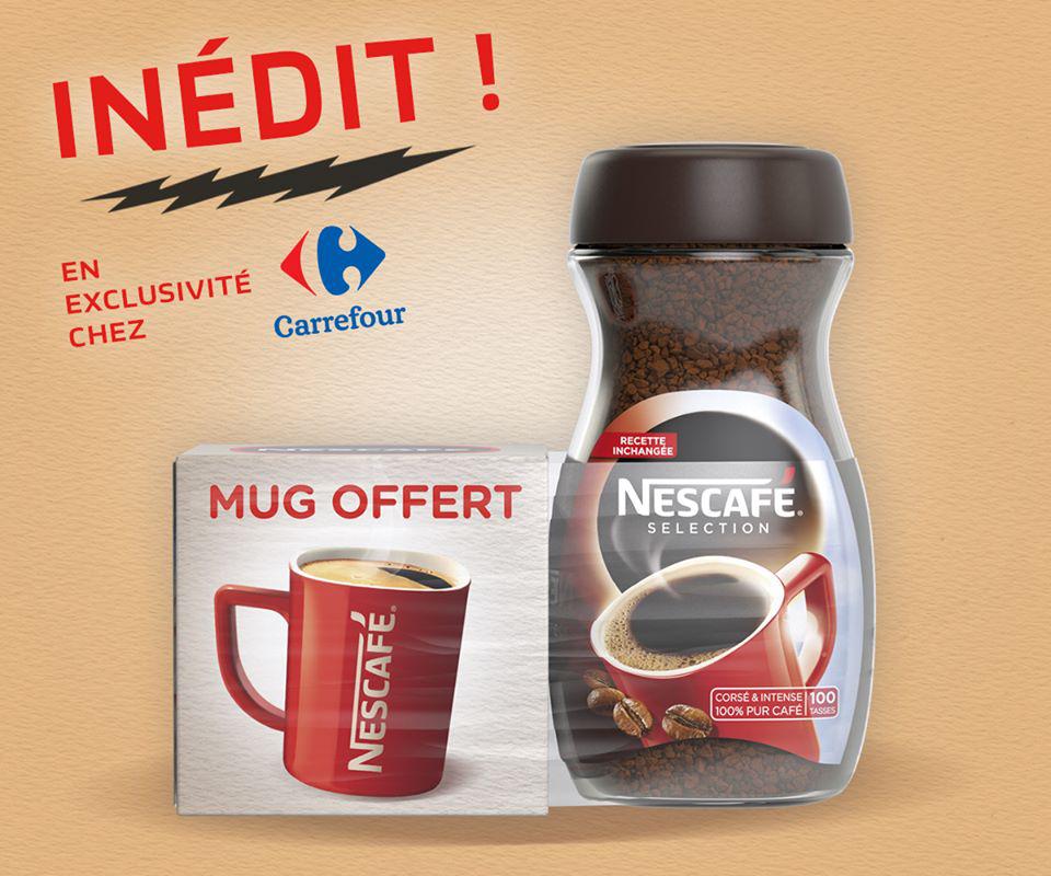 2 pots de café Nescafé Sélection + 2 Mugs Offert