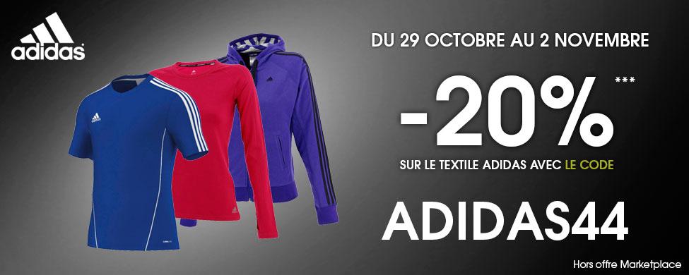 20% de réduction sur le textile Adidas hors market place