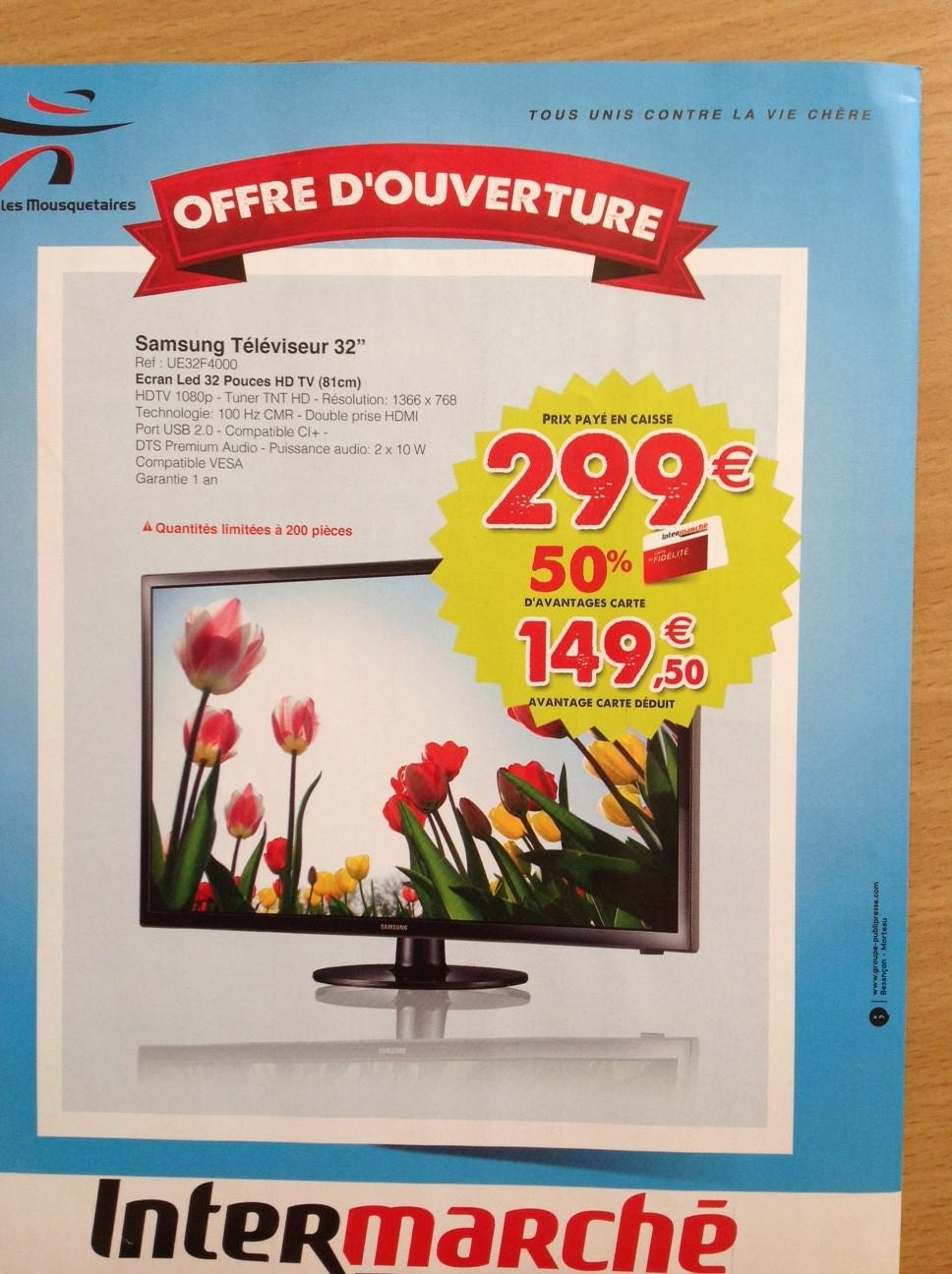"""TV 32"""" Samsung UE32F4000 720p (149.5€ sur la carte fidélité)"""