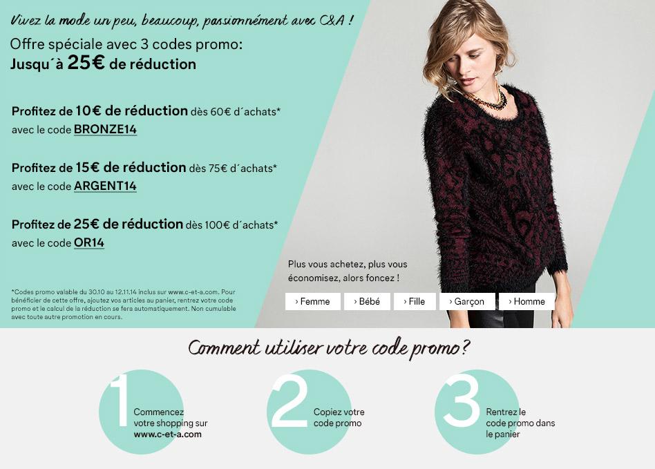10€ de réduction dès 60€ d'achat, 15€ dès 75€ et 25€ dès 100€ sur tout le site