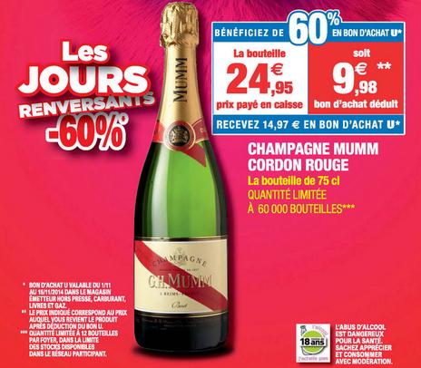 Champagne Mumm Cordon Rouge cuvée privilège (60% en bon d'achat)