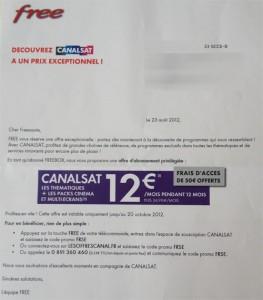 Canalsat à 12€/ mois pendant 1 an + Chèque de 100€ endossable pour les abonnées Freebox