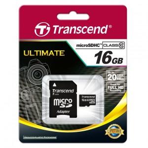 1 carte micro SD 16 Go classe 10 Transcend achetée = 1 carte micro SD 8 Go classe 10 Transcend à 1 euro de plus seulement