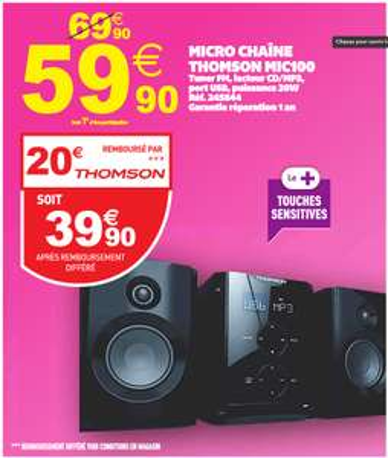 Micro-chaîne Thomson MIC100 CD/MP3 (avec ODR 20€)