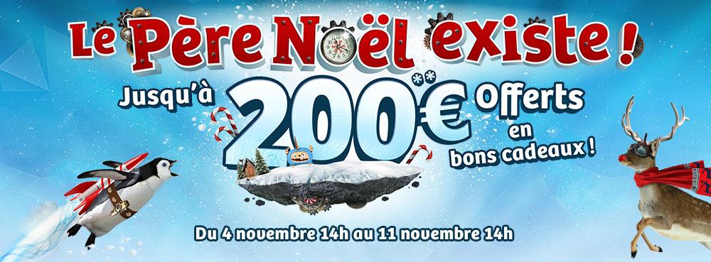Opération le Père Noël existe : Jusqu'à 200€ offerts en bons cadeaux
