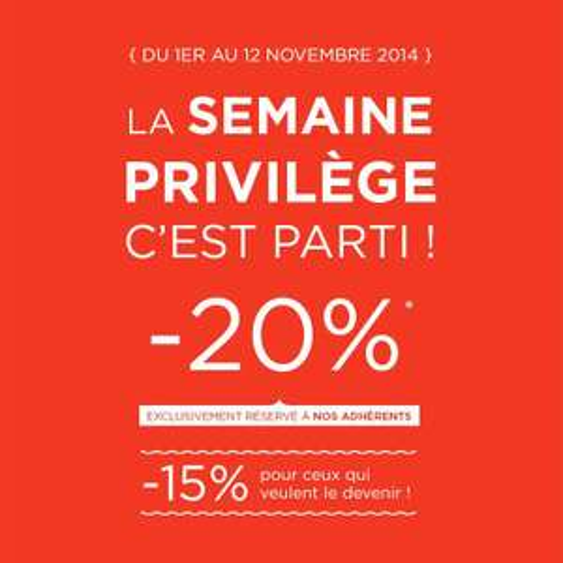 Semaine privilège adhérents : - 20% sur tout le site, - 5% sur les livres