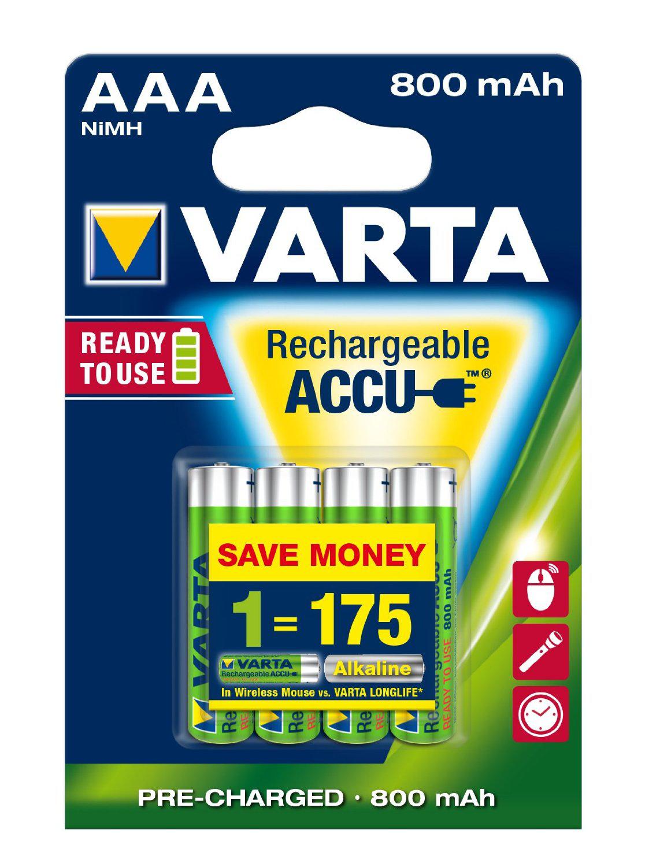 Piles Rechargeables Varta Longlife AAA x4 - 800 mAh (LR03)