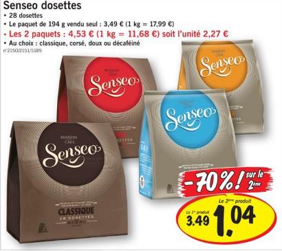 Lot de 2 paquets de 28 dosettes Senseo (classique, corsé, doux ou décaféiné - soit 0.08€ la dosette)