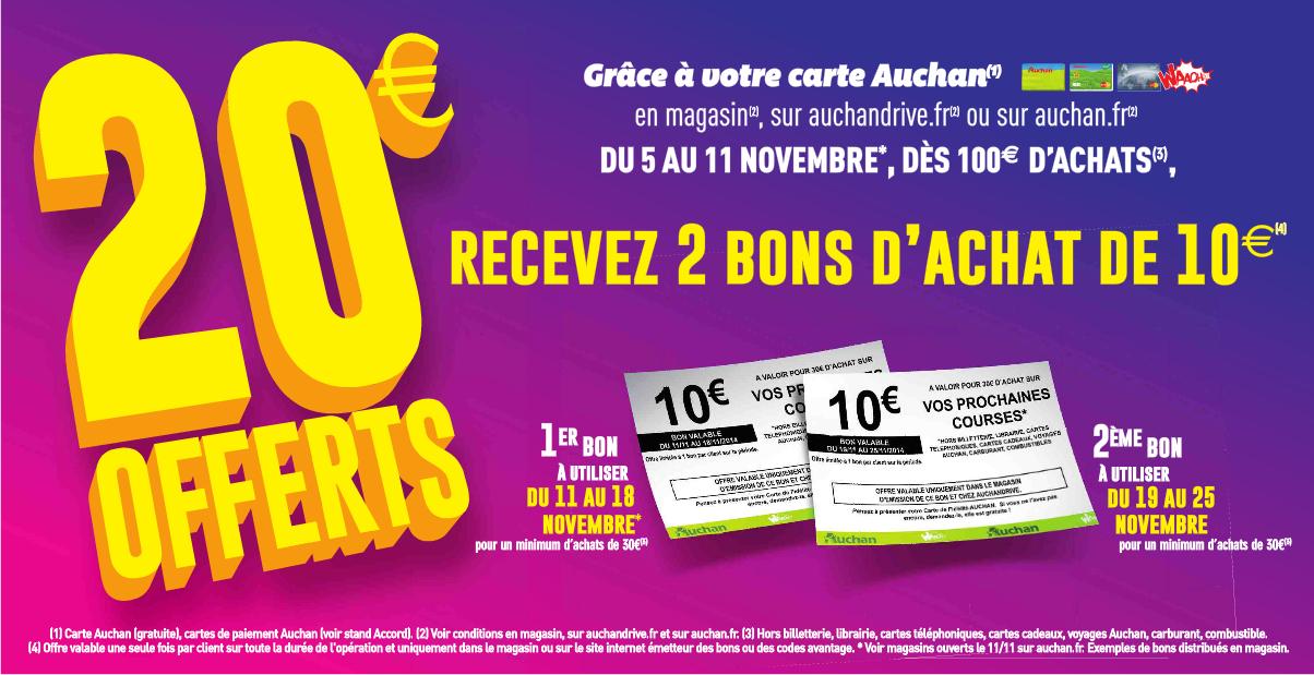 2 bons d'achat de 10€ offerts à partir de 100€ d'achat en ligne ou en magasin