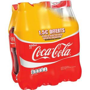 2x Packs de Coca Cola 6x50cl (Avec 6.3€ sur la carte)