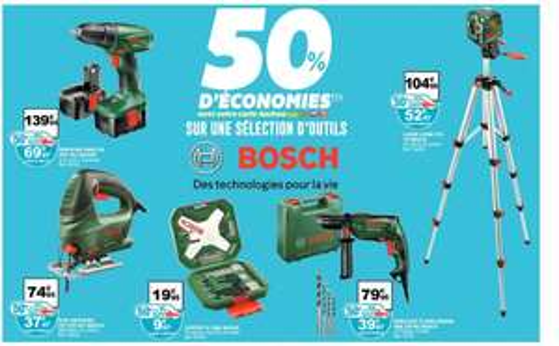 Sélection de produits Bosch (avec 50% de remisesur la carte) - Ex : Niveau laser Bosch PCL 10 + pied (avec 50% sur la carte waaoh)