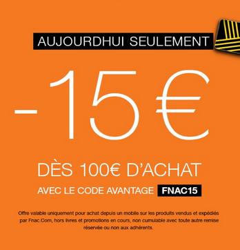 15€ réduction dès 100€ d'achat sur le site mobile et l'application