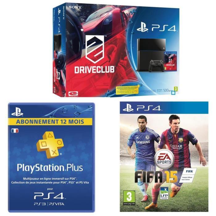 Console PS4 500 Go + Drive Club + FIFA 15 + Abonnement Playstation Plus 12 Mois + 100€ en bons d'achat