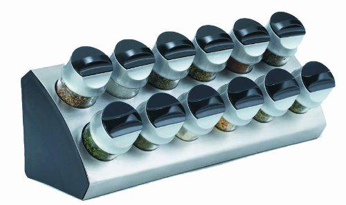 Support à épices avec 12 bouteilles - Inox / Noir