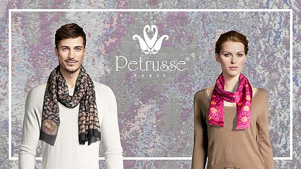 Echarpe, foulard Pétrusse, Maison d'artisanat d'art de Luxe, H et F