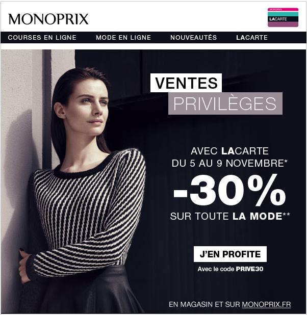 30% de réduction sur toute la mode en ligne et en magasin (avec la carte)
