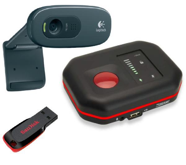 Boitier de capture HD hauppage HD pvr Rocket + Webcam HD Logitech C270  + clé USB 32Go Sandisk Cruze Slice