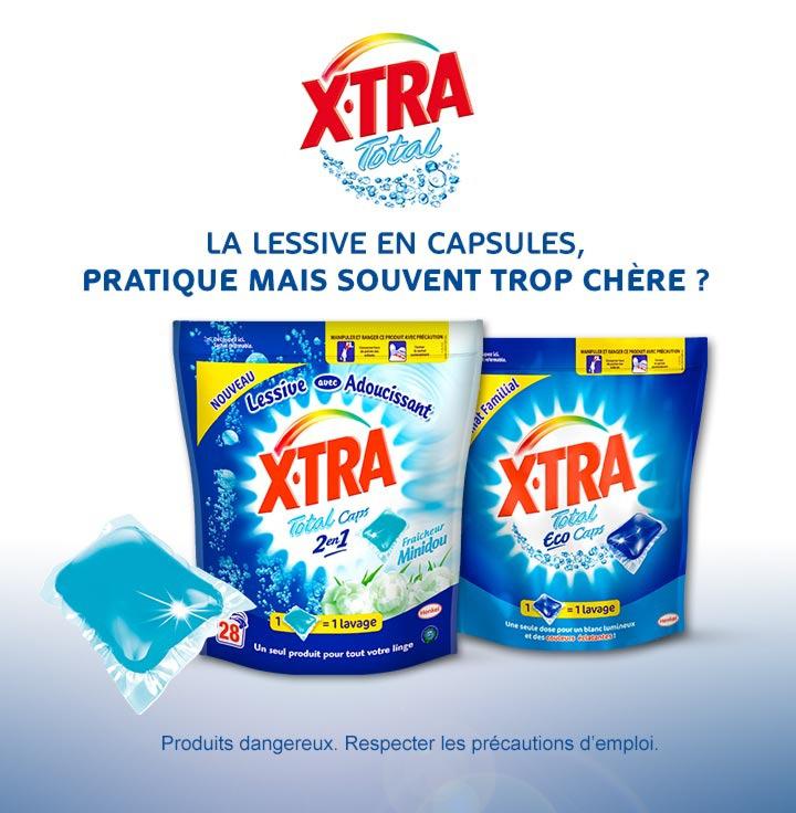 Lessive en capsules X-TRA Total Caps 2en1 Fraîcheur Minidou - 28 doses