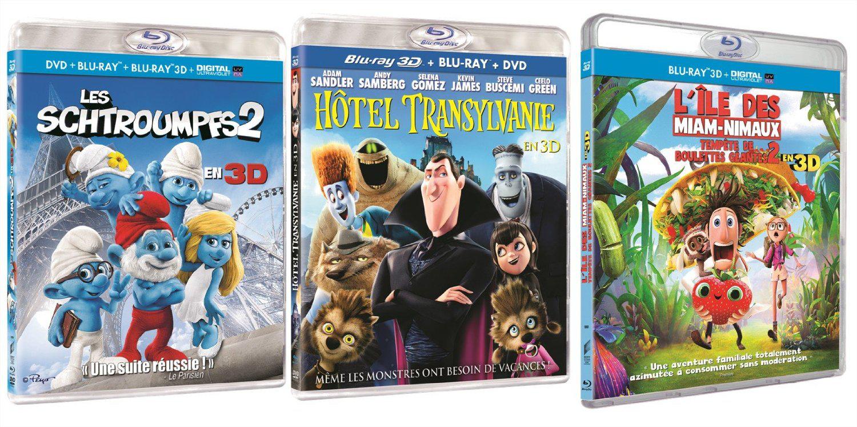 Coffret Découverte Blu-ray 3D Animation - 3 Films : Tempête de boulettes géantes 2 + Hotel Transylvanie + Les Schtroumpfs 2