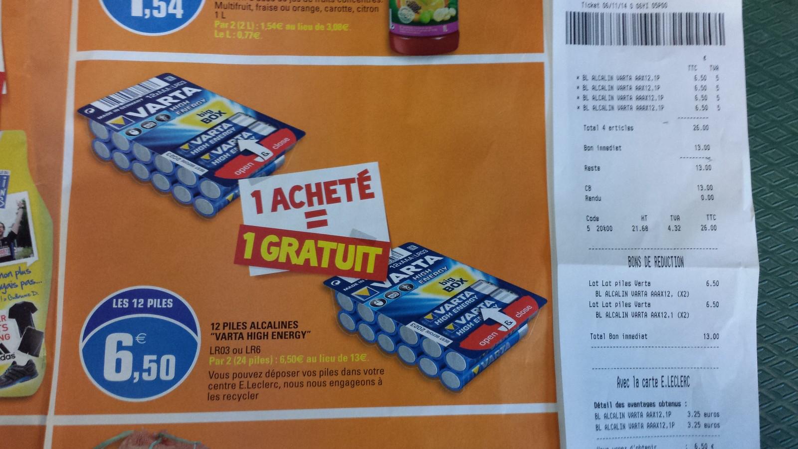 48 Piles Varta High Energy  AAA ou AA (6.50€ sur la carte)