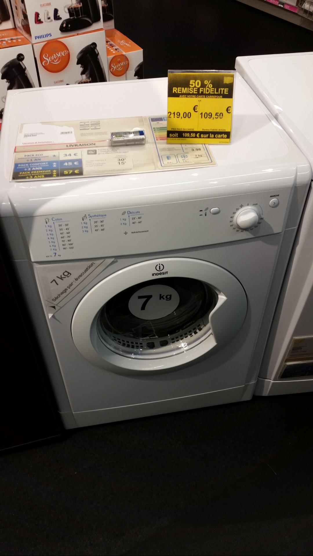Séche linge et lave vaisselle Indesit à -50% sur la carte de fidélité - Lave vaisselle à 174.5€ et Séche linge 7 Kg